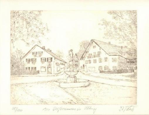 Am Dorfbrunnen in Utting, 14,5 x 19,5 cm