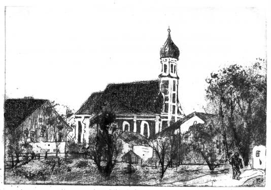 Leonhardikirche in Utting, 9,5 x 14,5 cm